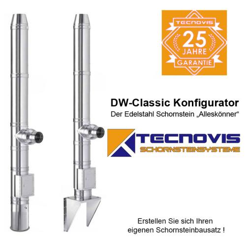 Tecnovis DW-Classic Edelstahlschornstein Konfigurator 80mm - 200mm Bausatz