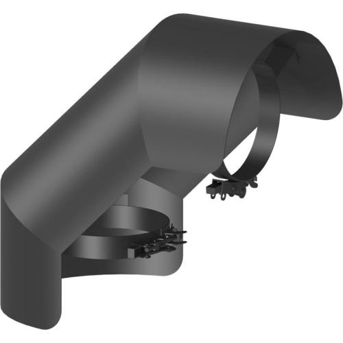 Ofenrohr Strahlungsschutz Bogen 90° stehend  DN 120mm schwarz