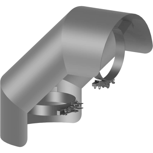 Ofenrohr Strahlungsschutz Bogen 90° stehend  DN 200mm gussgrau