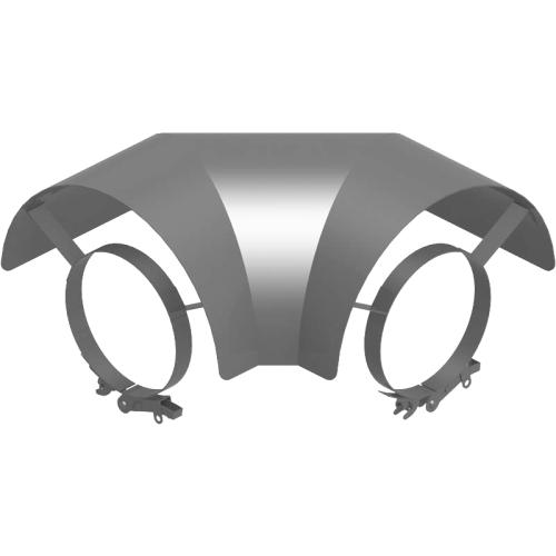 Ofenrohr Strahlungsschutz Bogen 90° liegend  DN 180mm gussgrau