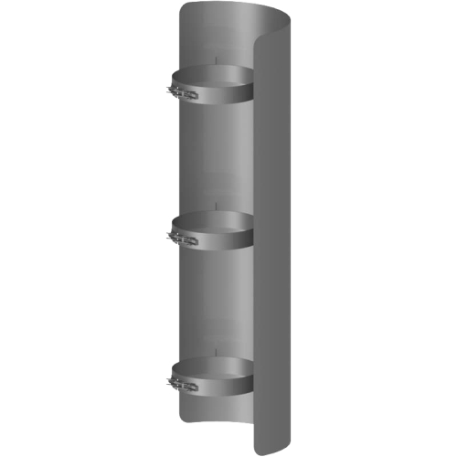 Ofenrohr Strahlungsschutz Länge= 750 mm  DN 130mm gussgrau
