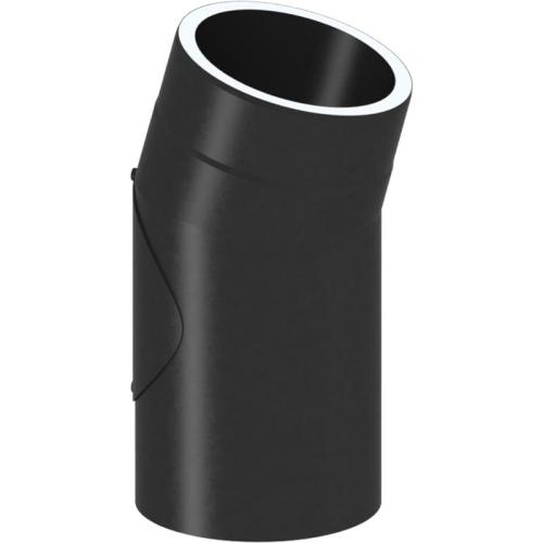 Tecnovis Tec-Protect Winkel 15° mit Tür Schwarz DN 150mm
