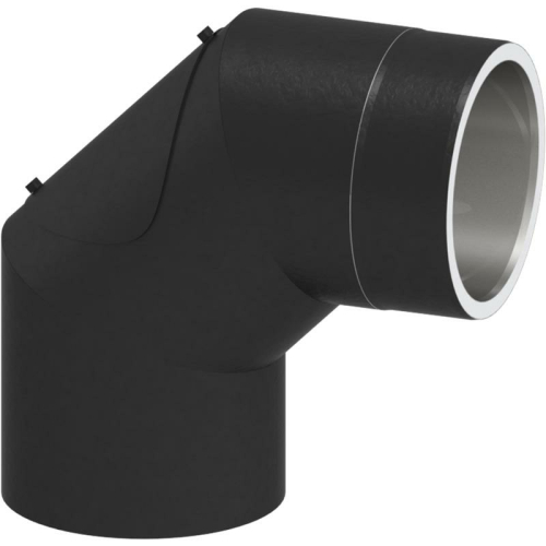 Tecnovis Tec-Protect Winkel 90° mit Tür Schwarz DN 130mm