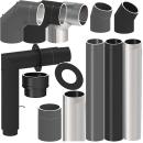Tecnovis Tec-Protect Längenelement 1000 mm mit DrosselklappeTür(mit Einzug) Schwarz DN 130mm