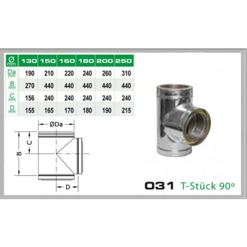 Zusätzlicher T-Aschluss 90° für Schornsteinsets 130mm DW6