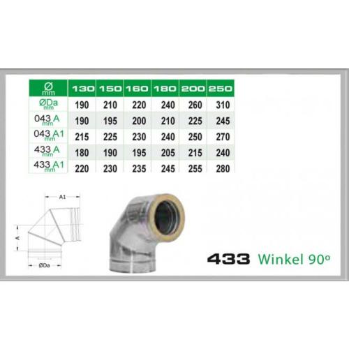 Winkel 90° für Schornsteinsets 200mm DW6