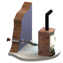 Zuluftsystem AIR für Kaminöfen DN 125mm Lüftungsgitter braun
