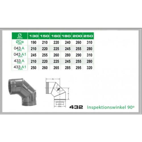 Winkel 90° mit Reinigungsöffnung für Schornsteinsets 150mm DW6