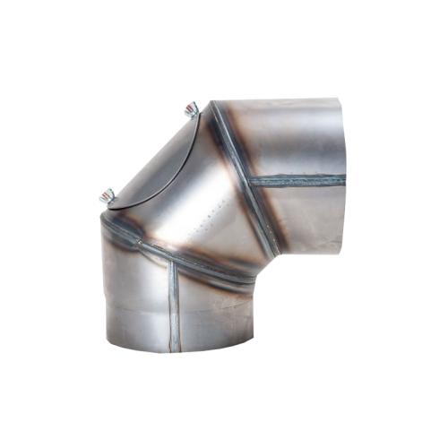 Ofenrohr Rauchrohr Bogen 90° mit Tür 130mm unlackiert 2mm