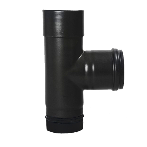 Pellet- Ofenrohr-Kapselknie DN 80mm matt-schwarz emailliert