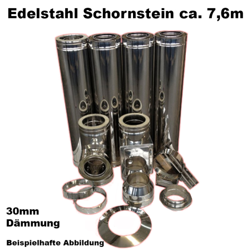 Schornstein-Set Edelstahl DN 130 mm doppelwandig Länge ca. 7,6m Wandbefestigung 250-430mm Abstand verstellbar DW6