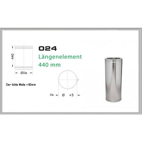 Längenelement 440mm für Schornsteinsets 130mm DW6