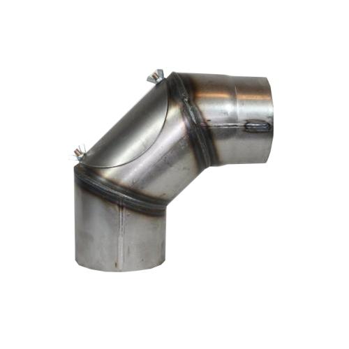 Ofenrohr Rauchrohr Bogen verstellbar 0-90° mit Tür 200mm  2mm unlackiert