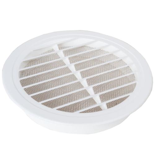 Lüftungsgitter rund weiß 100-150mm mit Insektenschutz