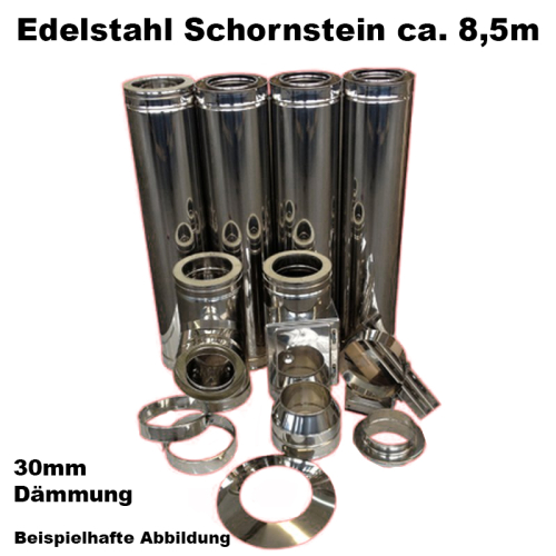 Schornstein-Set Edelstahl DN 150 mm doppelwandig Länge ca. 8,5m Wandmontage ohne Montage Material DW6