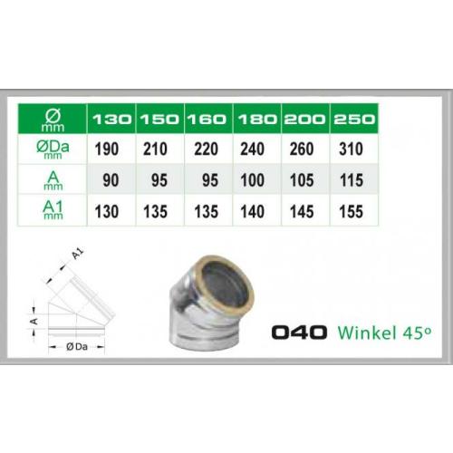 Winkel 45° für Schornsteinsets 180mm DW6