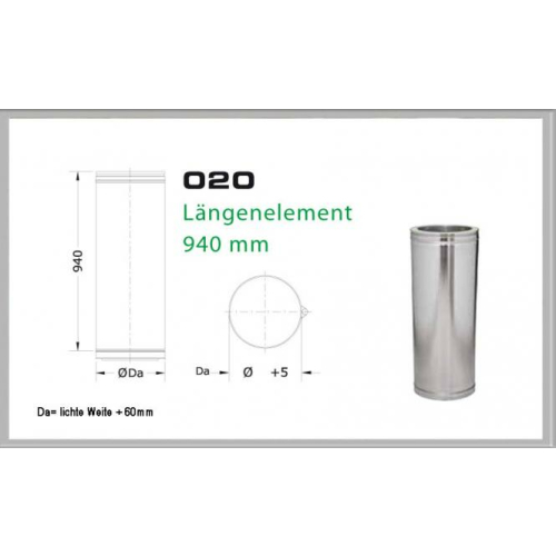 020/DN180 DW5 Längenelement 1000mm/ 940 mm